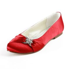 Dyeable Comfortable Bowknot Crystal Brooch Almond Toe Flats - Red Party shoes (11 colors)
