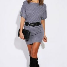 This cute sweater/dress looks so good for winter nights out with friends.Tall boots with a belt is lovely!