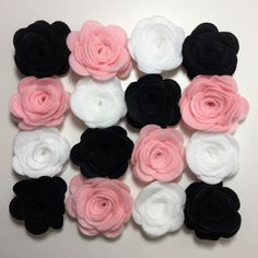 20 Minnie Mouse Felt Roses Felt Flowers DIY Rose Accessories Supplies for Hair Accessories Pink Black White Disney Flowers by PaperPrettiesandMore on Etsy