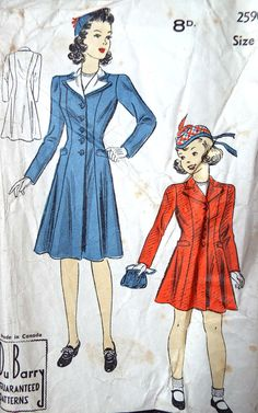 Vintage 1940s Du Barry girls coat sewing pattern  Princess seams with a notched collar and shaped welt pockets  Plain pattern pieces, pre cut and they have been used but remain in good condition Envelope has some creases and foxing Size 8 Free UK standard postage  Please more childrens pattern here https://www.etsy.com/shop/foxvintageuk?section_id=17476103