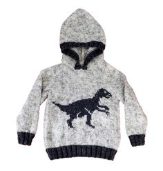 Knitting pattern for boys and girls dinosaur hoodie Pdf | Etsy