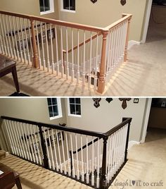 After months of admiring this amazing gel stain makeover over at Remodelaholic, I finally had a stretch of time off work long enough to dive right in and tackle this project in my home. (My office … Basement Renovations, Home Renovation, Home Remodeling, Rustic Staircase, Staircase Design, Staircase Ideas, Bannister Ideas, Staircase Decoration, White Staircase