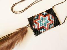 collier sautoir ethnique perles tissées et longue par avenuegipsy