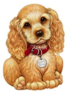 Darling illustration of cocker spaniel Cute Drawings, Animal Drawings, Cocker Spaniel Americano, Cute Puppies, Cute Dogs, Baby Animals, Cute Animals, American Cocker Spaniel, Cute Illustration