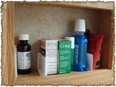 Medicine Cabinet Dividers    Use shower guards and cut them to fit, adhere with command strips. Better than baskets because nothing falls over during travel!