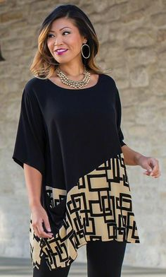 Love how the two fabrics are used - BIANCA TUNIC