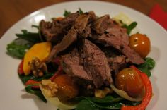 Garlic, lemon & rosemary roast lamb with a roast veggie salad
