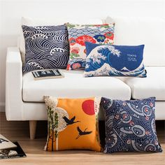 Buy Japonic Style Fan River Wave Sofa Office Linen Cushion Cover Pillow Cover with Lowest Price and Top Service! Modern Pillow Covers, Sofa Pillow Covers, Modern Pillows, Decorative Pillows, Cushions On Sofa, Throw Pillows, Style Japonais, Sofa Home, Fan