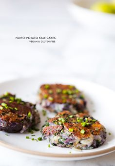 Truffled Salted Purple Potato Kale Cakes.