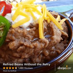 "Refried Beans Without the Refry | ""These are the best refried beans I've ever tasted...even better than in the Mexican restaurants. I added lots of garlic salt since we love garlic."" -cardun"