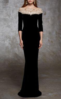 Marchesa Velvet Pearl Gown