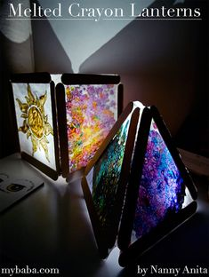melted crayon lanterns - make perfect night lights for children Wax Crayon Art, Melted Crayon Crafts, Diy Crayons, Melting Crayons, Diy Crafts For Girls, Spring Crafts For Kids, Crafts For Seniors, Crafts To Do, Paper Plate Crafts