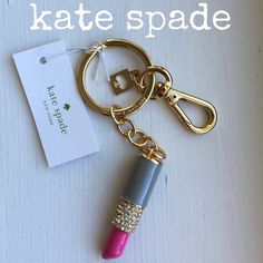 """kate spade"" lipstick keychain~NWT ""kate spade"" lipstick keychain~NWT approx. 2""~Firm unless bundled~NO Trade % Authentic kate spade Accessories Key & Card Holders"