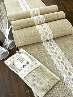 Burlap table runner wedding table runner with by HotCocoaDesign! I like the idea but my colors are gonna be white and teal so I think white burlap fabric with teal ribbon I bet I can DIY these! : Could use teal lace.Rustic chic Burlap table runner we Burlap Projects, Burlap Crafts, Diy Crafts, Burlap Table Runners, Lace Table, Diy Table, Sewing Crafts, Sewing Projects, Diy Projects