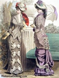 Historical sewing.com   Natural form bustle era 1877-1882, 1880 August Walking Dresses, Journal des Demoiselles