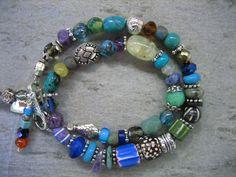 TRIBAL WRAP BRACELET African Beads Bracelet Sterling Beads Boho Chic bracelet