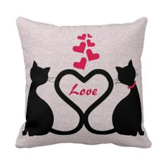 Love Cats Design Throw Pillow #hearts #valentine