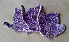 THREE Ceramic Teapot Tea bag Holders purple peacock by dgordon