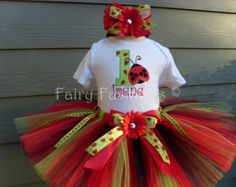 Custom Tutus..LADYBUG LIME and RED tutu set, size 3,6,9,12,18,24 months and 2T,3T,4T,5T,6.costume, lady bug, dress up, fairy, birthday party