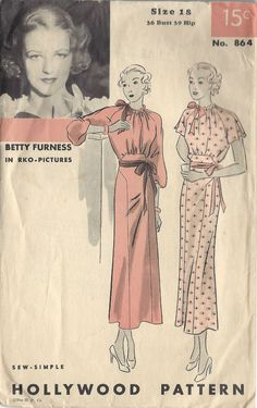 beautiful dress pattern hollywood 864 stunning design day or evening features rko starlet betty furness bust 36 sew simple vintage sewing pattern Mode Vintage, Vintage Vogue, Retro Vintage, Vintage Fashion, 1930s Fashion, Vintage Style, Vintage Games, Retro Fashion, Vintage Inspired