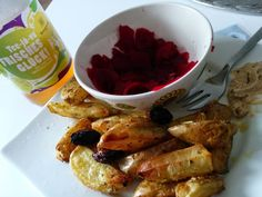 Ruck Zuck: Kartoffelspalten mit Rote Rübe Salat von Christina.