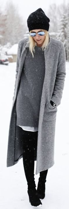 I love this street style outfit, grey coat + black beanie. Let us captivate your senses at Lou Lou & Percy with our luxurious on trend affordable fashion jewellery. http://www.loulouandpercy.com