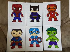 Superheros on canvas by Me