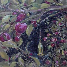 """Daily Paintworks - """"Apple tree"""" by Haidee-Jo Summers 25x25cm"""