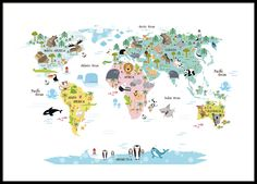 Children's poster with world map with cute animals. Fine lines with wonderful colors that fit nicely in the children's room. Painting for children who want to learn where the various animals live, such as lions, sharks and crocodiles. www.desenio.com