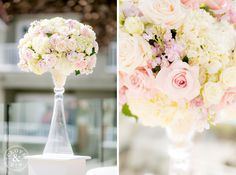 Gorgeous, classic centerpiece with white and blush roses.   L'Auberge Del Mar Wedding | Ashley and Stephen  Photography by Clove & Kin. View More: http://cloveandkin.com/blog/lauberge-del-mar-wedding-ashley-stephen/