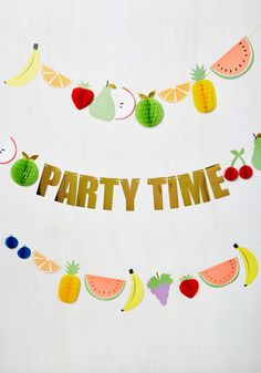 The Moment of Fruit Garland - Multi, Novelty Print, Print, Party, Fruits, Food, Good