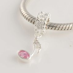 CLYB091 925 Sterling Silver Pink Music Note Crystal Dangle Pandora Charms on sale,for Cheap,wholesale