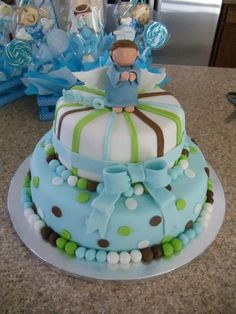 this is an angel cake can be used as a baby shower cake or a bautism cake