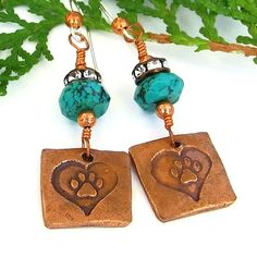 If you are looking for a meaningful pair of dog paw print and hearts earrings, look no further than these LOVE YOUR DOG artisan handmade earrings. They are meaningful because, once the earrings are sold, one half (½) of the purchase price will be donated to the local Humane Society, where we adopted our sweet Catahoula hound, Seamus.