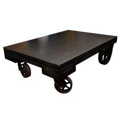Reclaimed Industrial Cart Coffee Table on Wheels