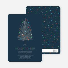Colorful Christmas Tree Holiday Party Invitations