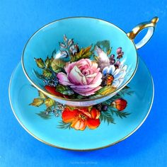 Very Rare Exquisite Signed Handpainted Blue & Floral Aynsley Tea Cup and Saucer     eBay