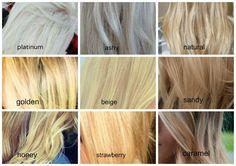 shades of blonde hair color chart Blonde Hair Shades, Blonde Color, Toning Blonde Hair, Toner For Blonde Hair, Ashy Blonde, Beige Blonde, Golden Blonde, Platinum Blonde, Blonde Balayage
