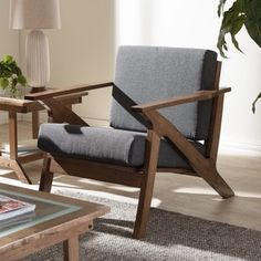 Baxton Studio Cymone Mid-century Modern Walnut Wood Grey Fabric Livingroom 1-seater Lounge Chair   Overstock.com Shopping - The Best Deals on Living Room Chairs