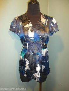 Ann Taylor Petites Black Gray Blue Teal Satin Belted Short Sleeve Drss Top Size 2P $16 Free Shipping!