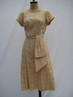 1950s Vintage Cocktail Dress Burdines Beige by TheVintageSuitcases, $89.95