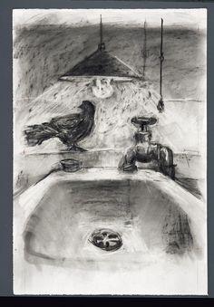 William Kentridge, Desenho para Medicine Chest, 2001  Onde utiliza uma das famosas características do seu trabalho - desenhos a carvão