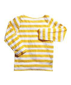 Yellow & White Stripe Boatneck Tee