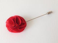 Pom pom RED Mens Flower Boutonniere / Buttonhole