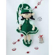 Elf doll knitted flat Knitting pattern by Knitted Dolls, Crochet Dolls, Crocheted Toys, Crochet Doll Pattern, Crochet Patterns, Yarn Trees, Knitted Teddy Bear, Boucle Yarn, Elfa