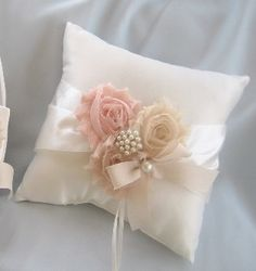Wedding Ring Pillow Ring Bearer Pillow Shabby by nanarosedesigns, $23.00