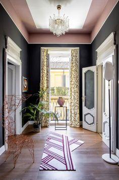 〚 Colorful eclectic interiors of old palazzo in Brescia, Italy 〛 ◾ Photos ◾ Ideas ◾ Design #interiordesign #homedecor #ideas #inspiration #tips #cozy #living #style #space #interior #decor #corridor ##classic #color Palazzo, Italy, Curtains, Flooring, Interior Design, House, Cozy Living, Corridor, Furniture