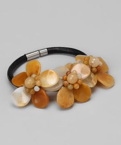 Take a look at this Yellow Jade Bloom Leather Bracelet by Gardenia Jewelry on #zulily today!