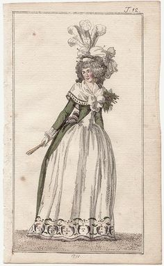 Journal des Luxus, 1791.Green with long sleeves and little trimming, white zone-front and petticoat - exactly what I was looking for!