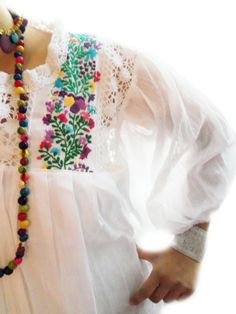 Gypsy  tunic mexican Embroidered mini dress